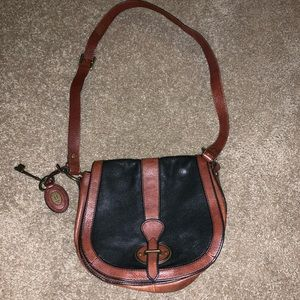 Fossil Black and Brown Leather Bag